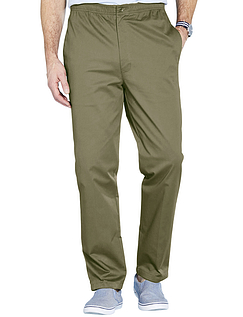 Easy Pull On Cotton Trouser - Lovat