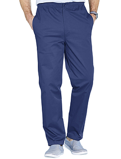 Easy Pull On Cotton Trouser - Navy