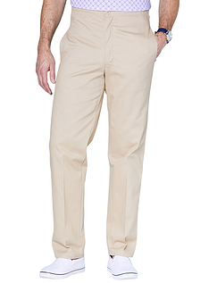 Easy Pull On Cotton Trouser - Sand