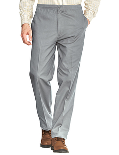Easy Pull On Cotton Trouser - Silver