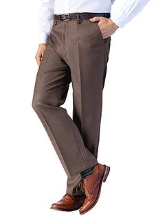 Regular Rise Traditional Woolblend Trousers With Adjustable Waistband