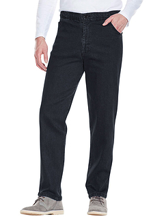 Elastic Waist Demin Jean In Stretch - Black