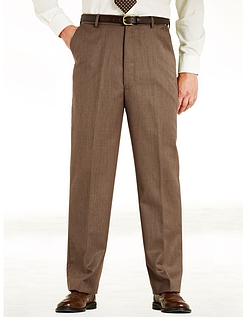 Woolblend Cavalry Twill Trouser With Stretch Waistband.