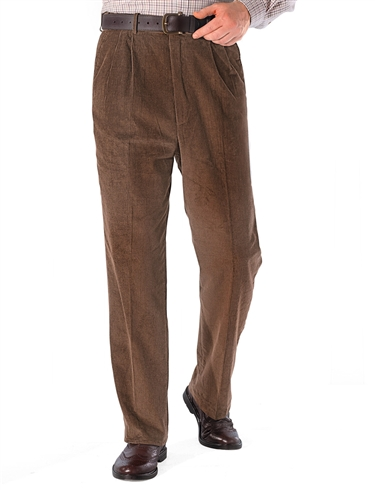 Luxury Cotton Regular Rise Corduroy Trousers With Self Adjusting Waistband