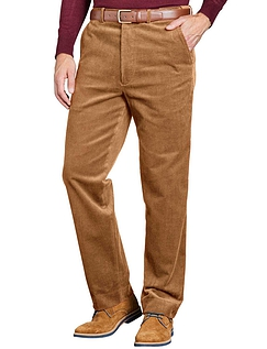 Regular Rise Luxury Cotton Corduroy Trousers  - Fawn