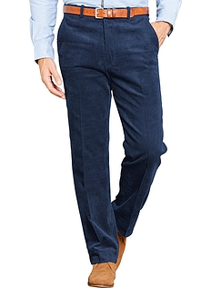 Regular Rise Luxury Cotton Corduroy Trousers  - Navy
