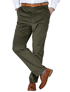 Regular Rise Luxury Cotton Corduroy Trousers  - Olive