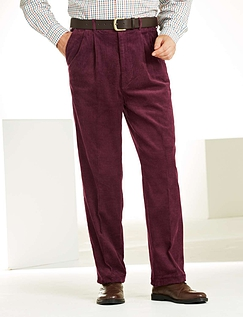Regular Rise Luxury Cotton Corduroy Trousers  - Wine