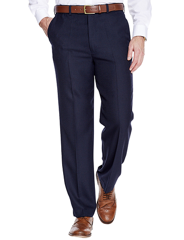 High Waisted Cavalry Twill Wool Blend Trouser - Navy