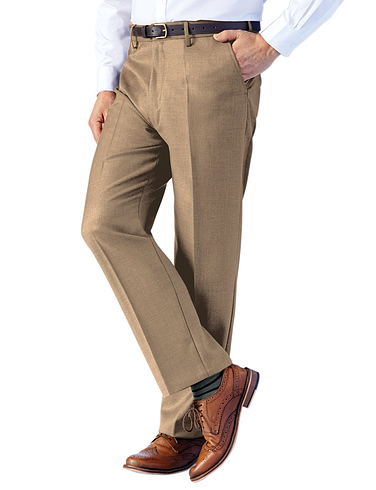 Traditional Woolblend High Waist Trouser With Stretch Waist