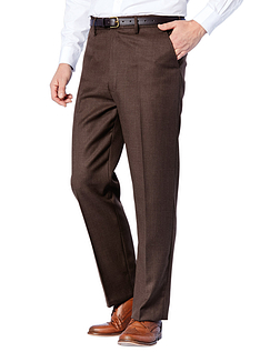 High Waisted Woolblend Trouser - Brown