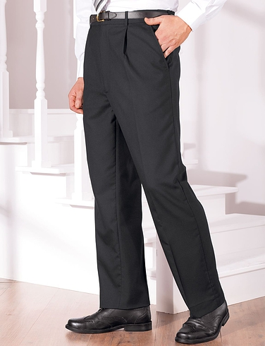 High Waist Formal Trouser With Stretch Waistband - Black