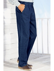 High Waisted Elasticated Waist Denim Trouser