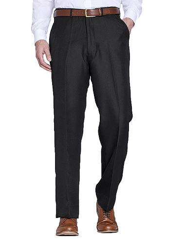 High Waist Twill Trouser With Hidden Stretch Waist
