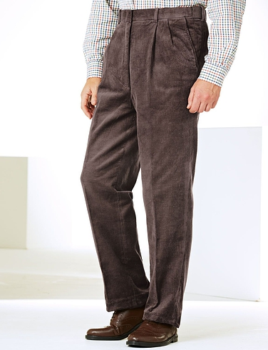 Luxury Cotton High Rise Corduroy Trousers With Self Adjusting Waistband