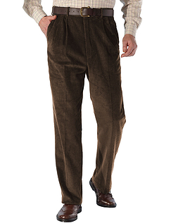 High Rise Luxury Cotton Corduroy Trousers - Brown