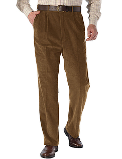 High Rise Luxury Cotton Corduroy Trousers - Fawn