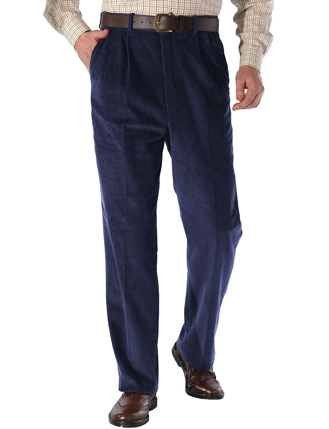 Luxury Cotton High Rise Corduroy Trousers With Self Adjusting
