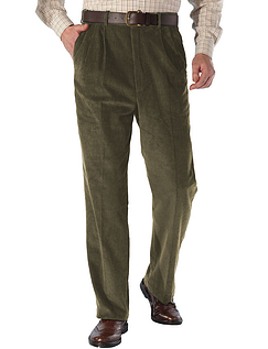 High Rise Luxury Cotton Corduroy Trousers - Olive