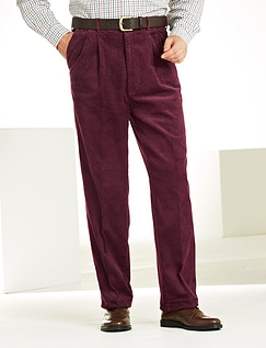 High Rise Luxury Cotton Corduroy Trousers - Wine