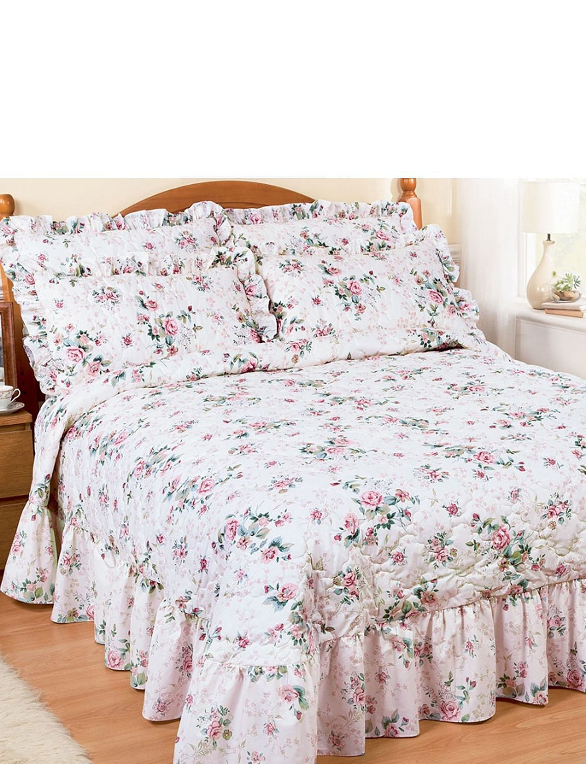 Rose Garden Quilted Throwover Home Bedroom