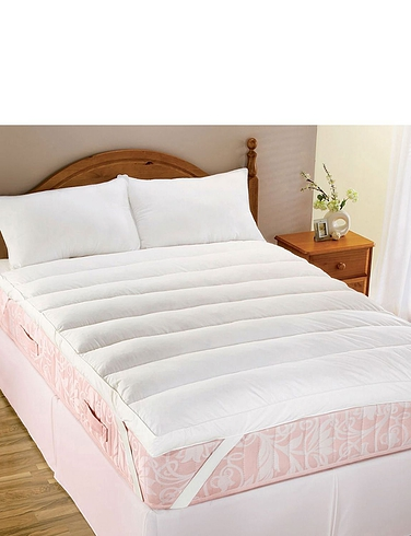 LUMBAR SUPPORT FEATHER MATTRESS TOPPER BY DOWNLAND
