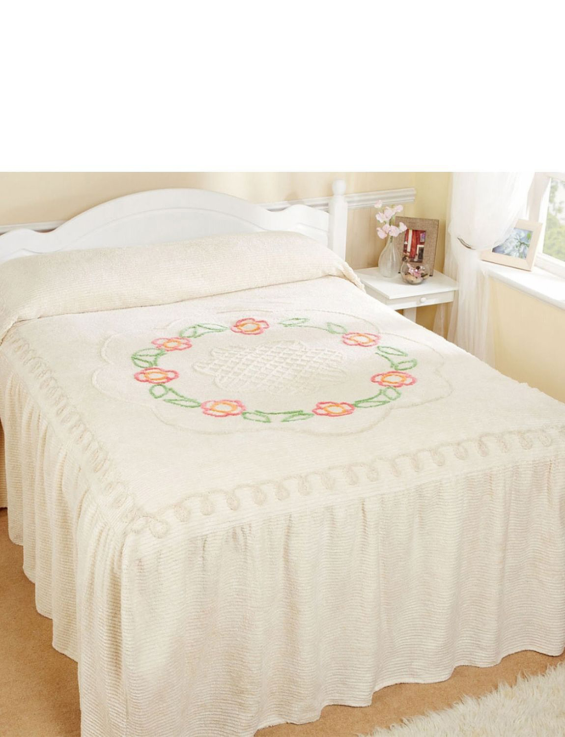 Flower Scroll Fitted Candlewick Bedspread By Diana Cowpe