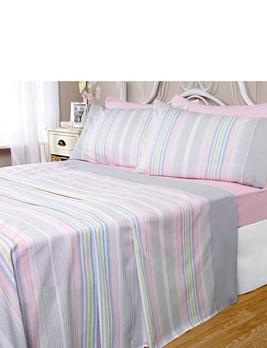 Candy-Stripe Poly/Cotton Sheet Set