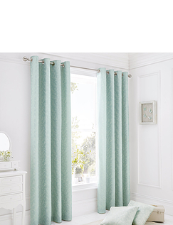 Ebony Jacquard Lined Ring-Top Curtains