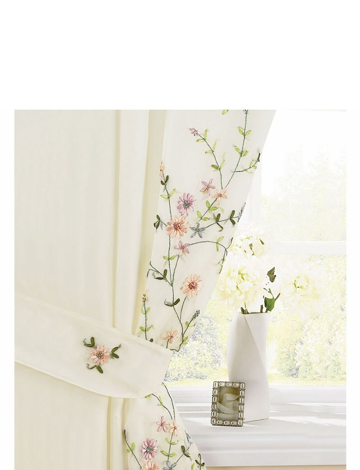 Floral Trail Embroidered Lined Voile Curtains