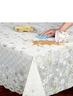 Wipe-Clean Lace Effect Tablecloth