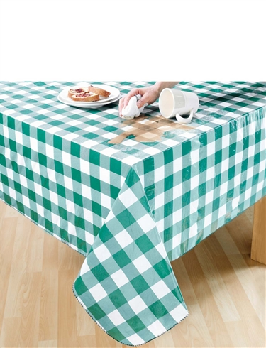 Gingham Check Wipe-Clean Vinyl PVC Tablecloths
