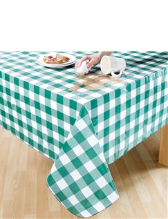 Wipe Clean Vinyle PVC Tablecloths in Gingham Check