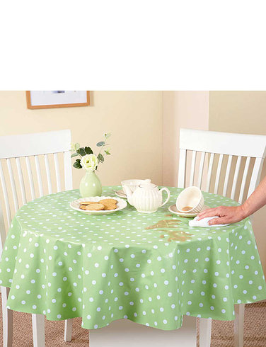 WIPE-CLEAN VINYL PVC TABLECLOTHS-Polka Dot