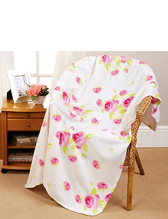 Vintage Rose Fleece Throw