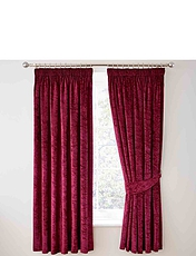 Crushed Velvet Lined Curtains, Tie-Backs And Cushion Covers