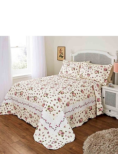 Cottage Rose Quilted Bedspread Set