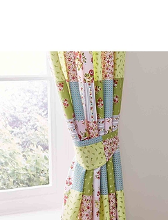 Sarah Quilted Patchwork Lined Curtains With Free Tie-Backs