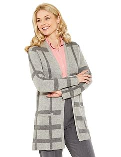 Check Design Cardigan Coat
